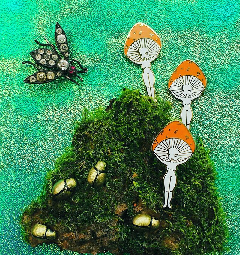 freya gilded creatures enamel pin mushroom girl