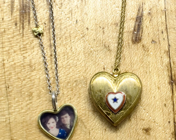 two sweetheart necklaces one vintage and one handmade
